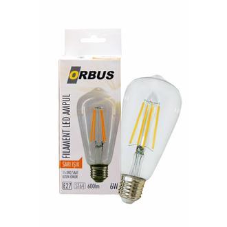 Orbus ST64 LED Filament Bulb Clear 6 Watt E27 600lm Ra80 220- 240V/50Hz 2700 k Sarı Işık Ampul