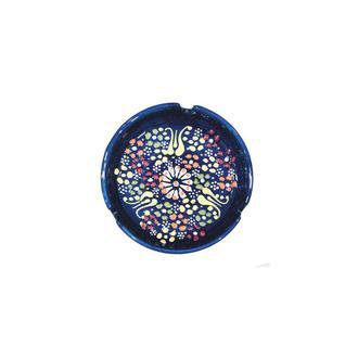 Myros Dekorlu Çini Küllük - Lacivert - 10 cm