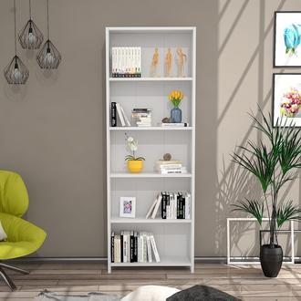 Just Home Eco 5 Raflı Kitaplık – Beyaz