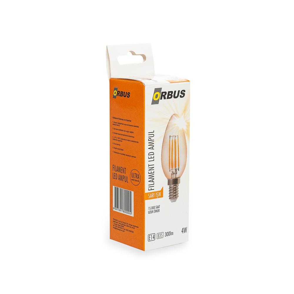 Orbus C37 4W Filament Bulb Amber E14 300Lm Ra80 220- 240V/50Hz 2200 K Sarı Işık Ampul