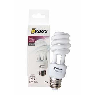 Orbus Burgu Enerji Tasarruflu 15 watt, E27 850 Lm, Ra80 220- 240V/50Hz, 6400K 6400 k Beyaz Işık Ampul