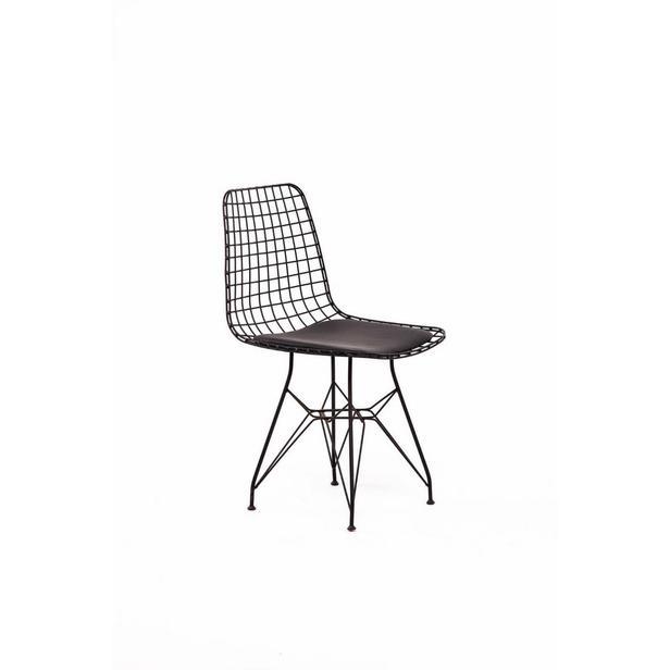 Asf Tel Sandalye 2'li Set - Siyah