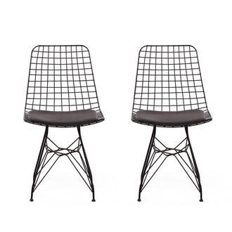 Asf Tel Sandalye 2 li Set - Siyah