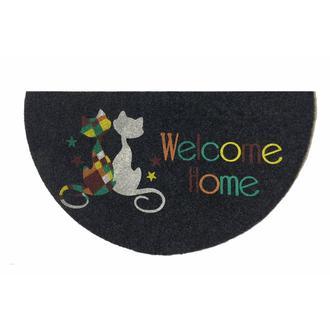 Giz Home Megan Welcome Kediler Yarımay Kapı Paspası (Gri) - 40x75 cm