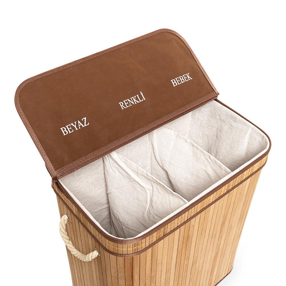 Deco&Style Bambu Üç Hazneli Katlanır Çamaşır Sepeti