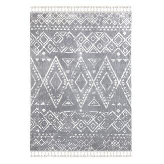 Payidar 1495A Moroccan Shaggy Halı (Gri/Beyaz) - 80x150 cm