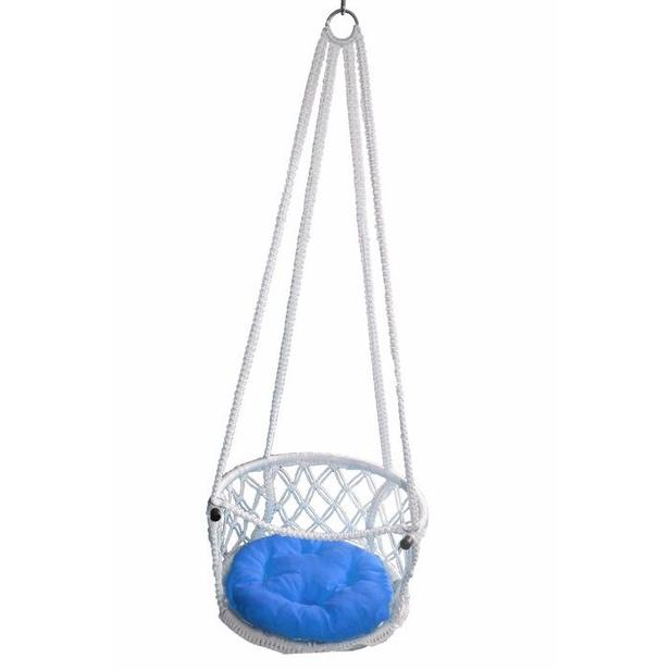 Altınoluk Çocuk 50 'lik Davul Salıncak - Beyaz (Mavi Minderli)