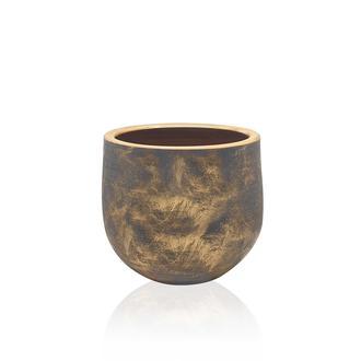 The Mia Eskitme Altınlı Oval Saksı - 17x15 cm