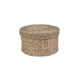 Kanca Naturel Hasır Kapaklı Yuvarlak Sepet - 13 cm