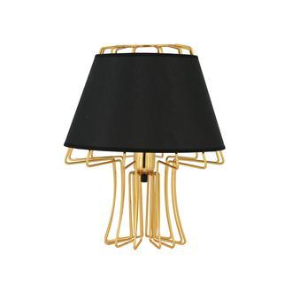 Nisa Luce Design Abajur - Altın Metal Ayak/Siyah Kumaş Şapka