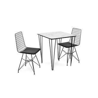 Akın Lüx Modern Tel Ayaklı Masa Sandalye Takımı - Beyaz