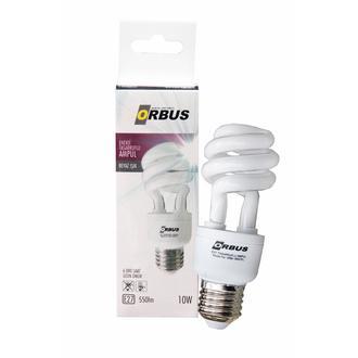 Orbus Burgu Enerji Tasarruflu 10 watt, E27 550 Lm, Ra80 220- 240V/50Hz, 6400K 6400 k Beyaz Işık Ampul