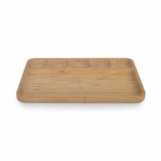 Bamwood 6 Bölmeli Kahvaltı Tabağı - 24x32,5cm