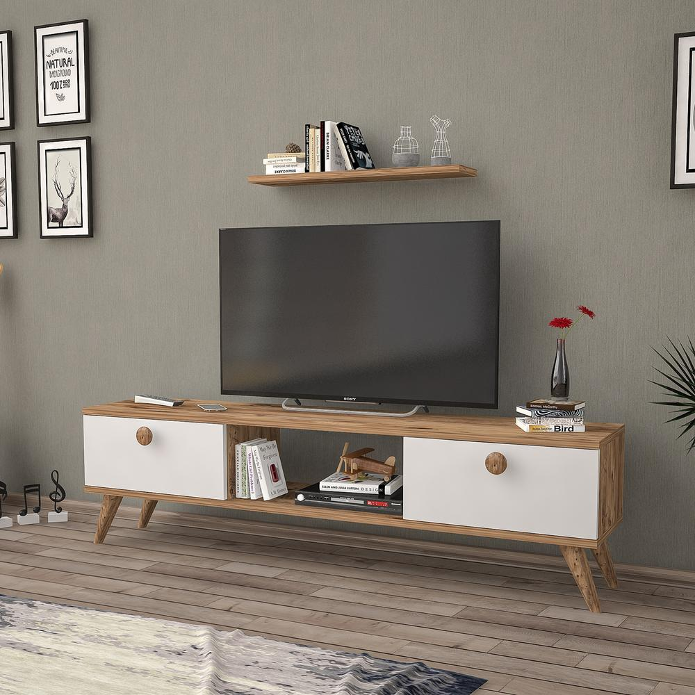 Just Home Terra Tv Ünitesi - Atlantik Çam / Beyaz - 140 cm