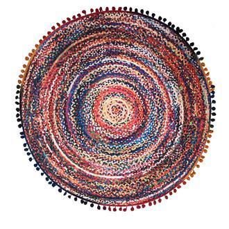 Giz Home R104 Lopez Dijital Baskılı Püsküllü Yuvarlak Halı (Renkli) - 90x90 cm