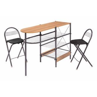 Ofisbazaar 2 Tabureli Mutfak Masası Seti - Siyah/Kiraz