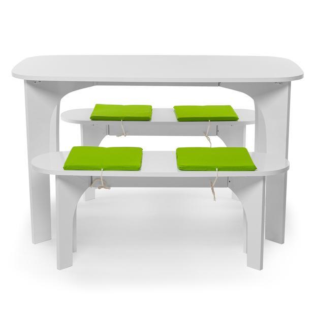 Just Home Ebru Banklı Yemek Masası Takımı - Beyaz/Yeşil