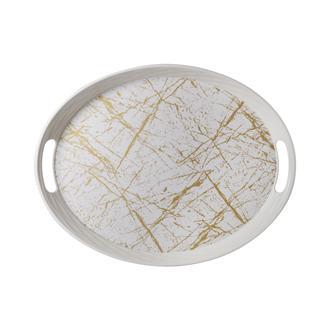 İpek Altın Mermer Oval Kaydırmaz Tepsi- 34x44 cm