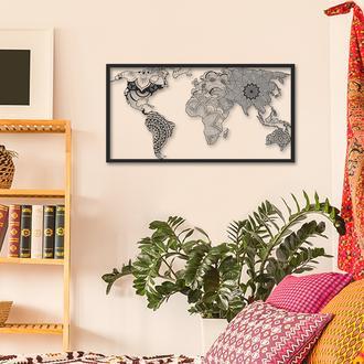 Artepera APT149 Mandala Dünya Haritası Metal Tablo - 50x95 cm