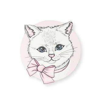 Myros Beyaz Kedi Ahşap Bardak Altlığı Magnet