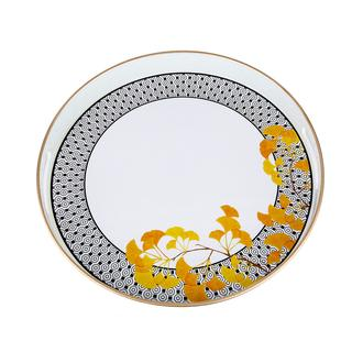 Lucky Art Cızgı Sarı Cıcek Tepsi - 37 Cm