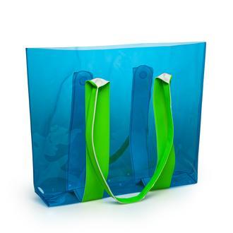 Funny Design Deri Görünümlü Plaj Çantası - Mavi / Yeşil