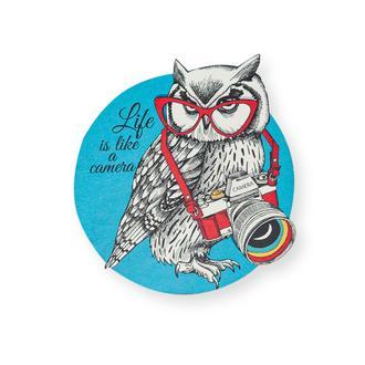 Myros Owl Ahşap Bardak Altlığı Magnet