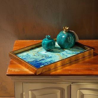 Arte Casero Cam Baskı Marble Tepsi - 32x46 cm