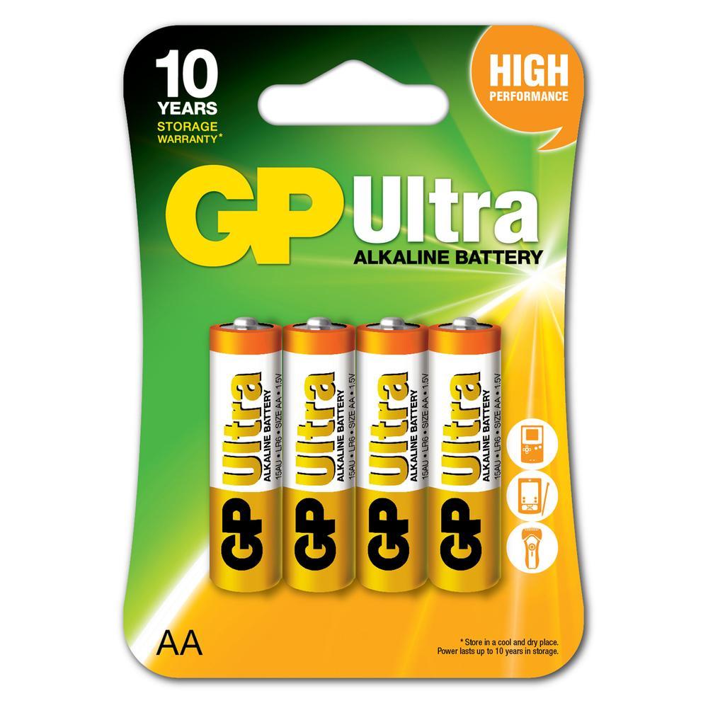 GP Batteries Ultra Alkalin AA Boy 4'lü Kalem Pil - 1.5 V