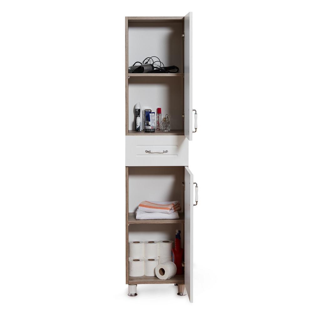Just Home Avanos 2 Kapak Tek Çekmeceli Membran Çok Amaçlı Dolap - Malta Freze/Beyaz
