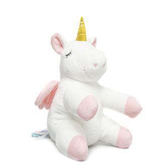 Selay Toys Kanatlı Unicorn Figürlü Yastık 30 cm- Beyaz