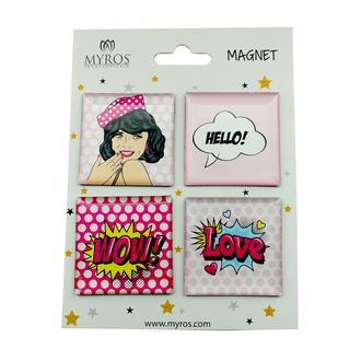 Myros 5404 Pop Art 4'lü Magnet