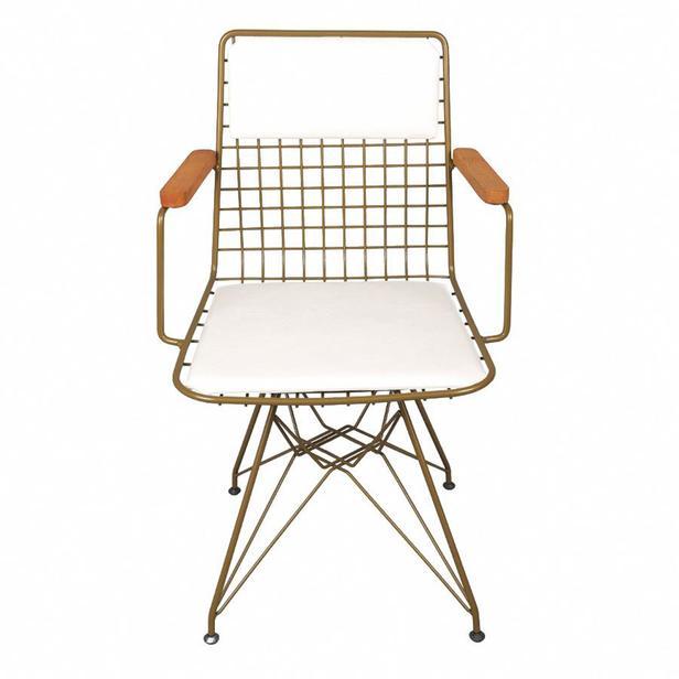 Akın Lüx Kollu Sandalye - Gold/Beyaz