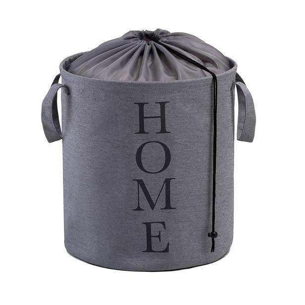 Ocean Home Baskılı Katlanır Çamaşır Sepeti (Gri) - 36x40 cm