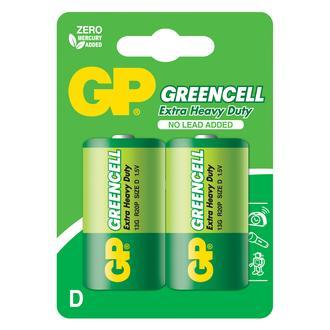 GP Batteries GP13G Greencell R20P/1250/D Boy Kalın Pil - 1.5 V 2'li Kart