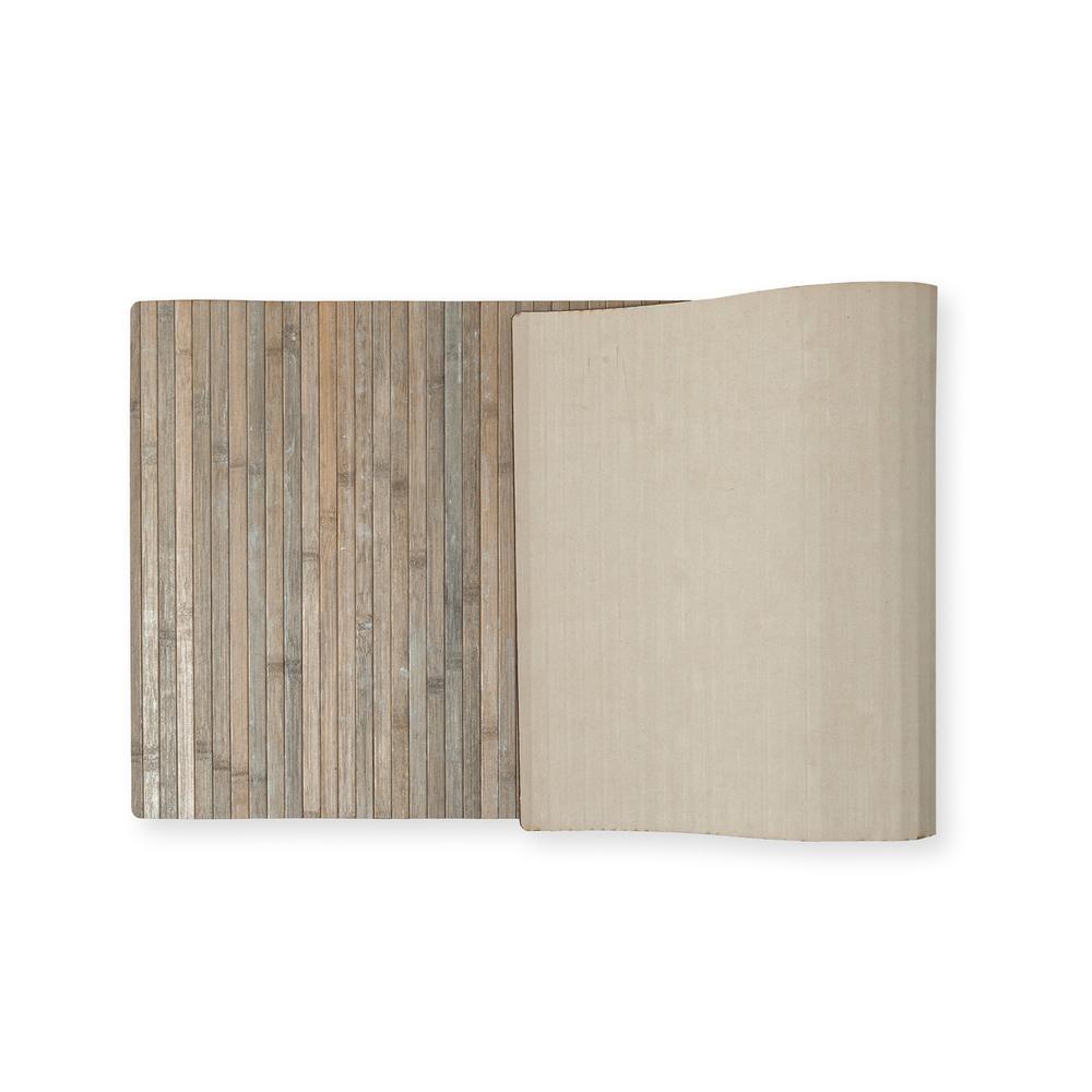 Lorin Bambu Ha1091c Kaymaz Tabanlı Paspas (Açık Gri) - 50x120 cm