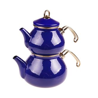 Taşev Beyzade Emaye Çaydanlık - Lacivert