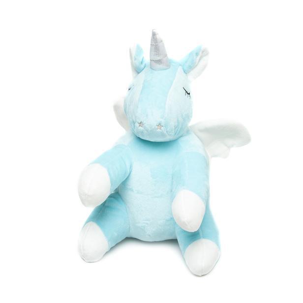 Selay Toys Kanatlı Unicorn Figürlü Yastık (Beyaz / Mavi) - 30 cm