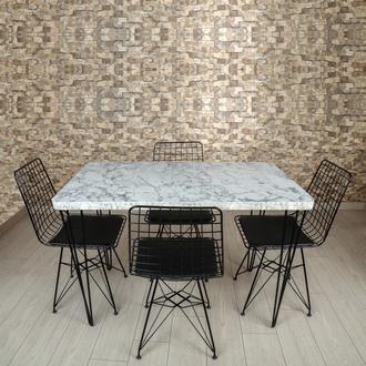 Akın Lüx Dekor Tel Ayaklı Masa Sandalye Takımı - Beyaz