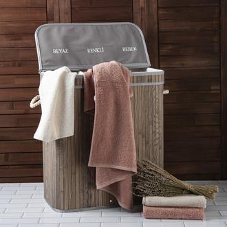 Lorin Bambu Üç Hazneli Katlanır Çamaşır Sepeti - Gri
