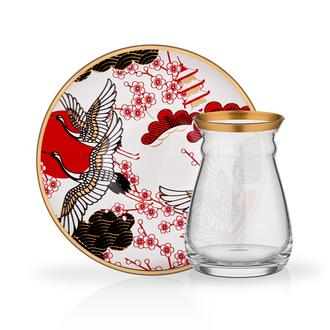 Glore Sakura 12 Parça Çay Seti - Kırmızı