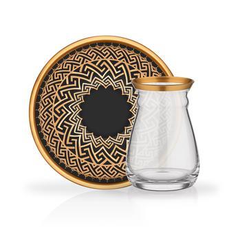 Glore Ajlan 12 Parça Çay Seti - Siyah