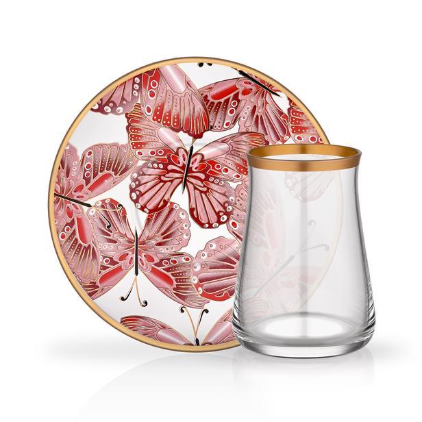 Glore Venüs 12 Parça Çay Seti - Kırmızı