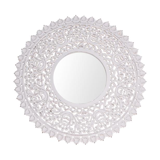 Q-Art Etnik Desenli Yuvarlak Ayna (Beyaz) - 40x40 cm