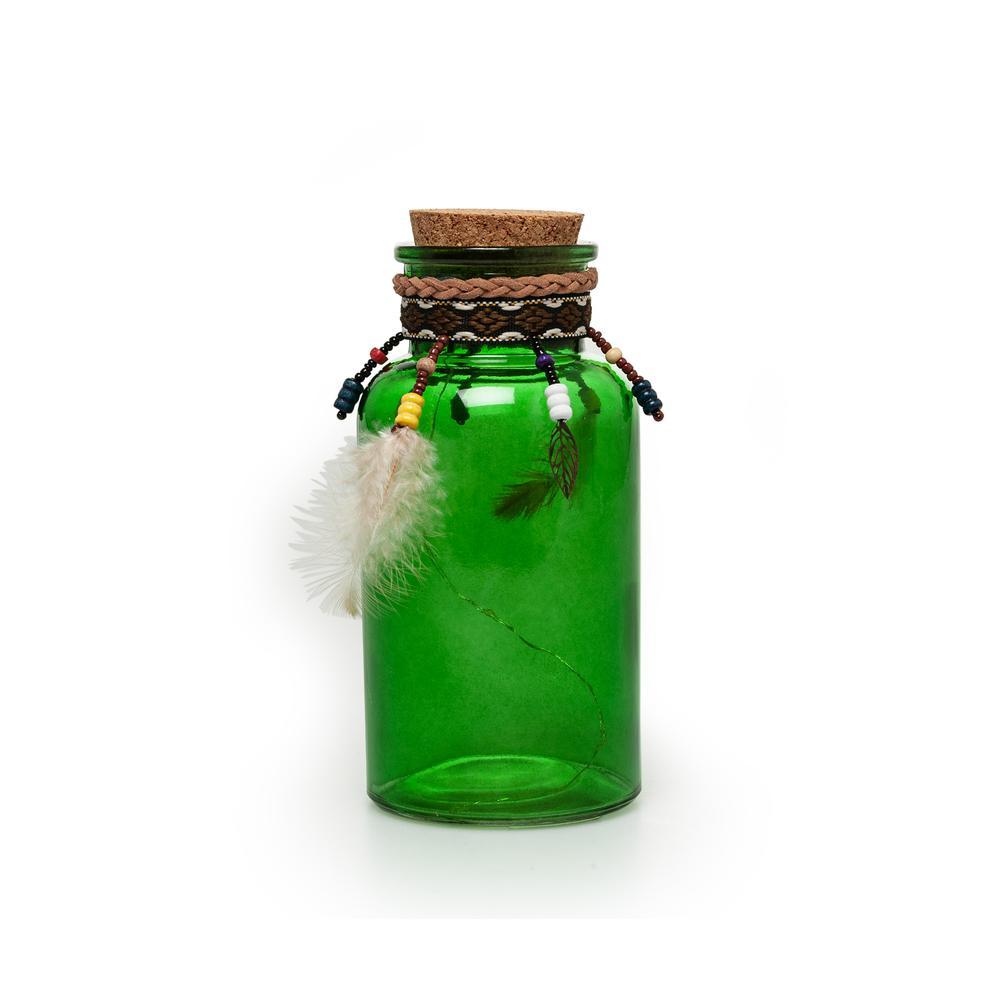 Q-Art Renkli Dekoratif Şişe - Yeşil