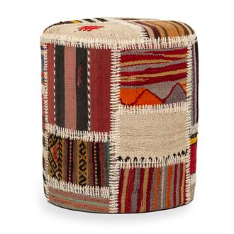 Just Home El Dokuma Kilim Patchwork Puf - Renkli