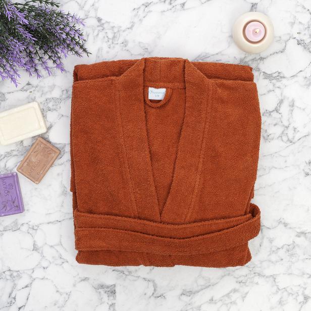 Nuvomon Plain Kadın Kimono Bornoz L/XL - Kiremit