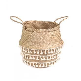 Kanca Ev Mini Püsküllü Katlanır Göbekli Hasır Sepet - 40 cm