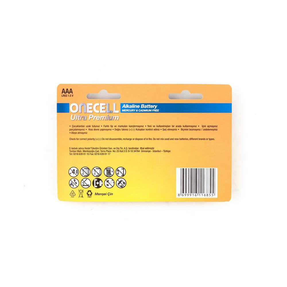 Onecell Ultra Premium Alkalin 1,5 V. 8'li AAA Boy Pil