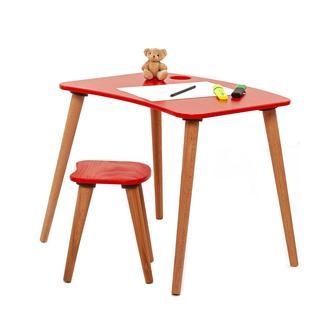 Just Home Damla Montessori Çoçuk Çalışma Masası Takımı - Kırmızı